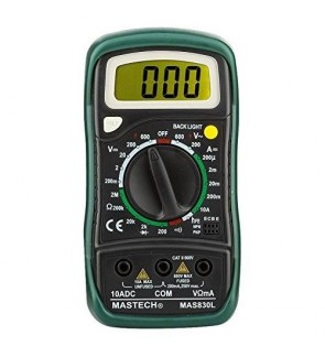 Mastech MAS830L Digital Multimeter Pocket Palm Size (Date / Hold / AC / DC / Voltage / Current / Back Light