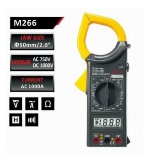 Mastech M266 AC Digital Clamp Meter with Temperature (Date / Hold / AC / DC / Voltage / Current / Resistance)