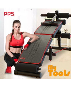DDS Gym Foldable Advanced Multi-Function Fitness Gym Sit Up Bench with Exercise Rope and Spring Pull