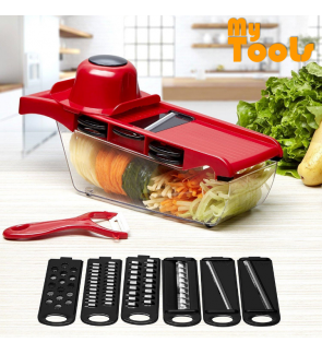 6 In 1 Mandoline Slicer Vegetable Grater, Cutter with Stainless Steel Blades & Storage Box