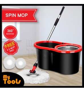 [Ready Stock] Spin mop S/S Basket + 2 Mop Heads