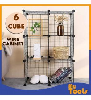 {READY STOCK]Heavy Duty 6 Cube Cabinet Cubes Black Wired Wire Mesh DIY Wardrobe