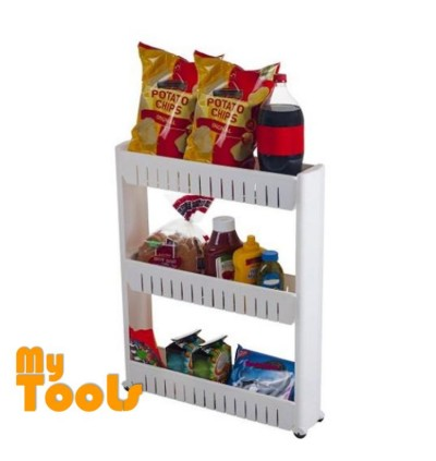 Mytools 3 Tiers Space Saver Slim Slide Storage Kitchen Toilet Bathroom Rack w Wheel