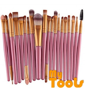20PCS Make Up Brushes Professional Cosmetic Plastic Handle Basic Eyebrow Eyeshadow Mascara Lip Makeup Brush Set (Pink & Gold)