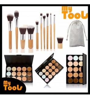 Bamboo Brush Set ( 11 Pcs) + 15 Contour Makeup Concealer Palette