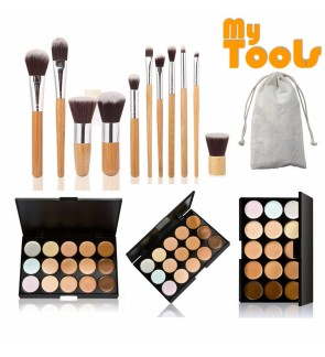 11pcs Bamboo Brush Set + Pro 15 Colors Contour Face Cream Makeup Concealer Palette