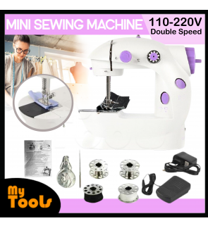 [Ready Stock] Portable Mini Sewing Machine 202 with Foot Pedal (UK 2 Pin Plug)