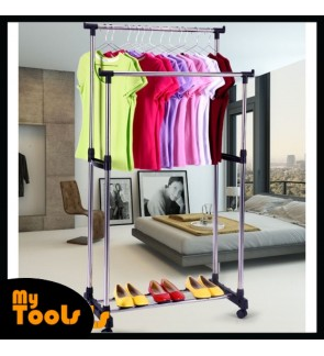 Ready Stock- Double Adjustable Stainless Steel Garment Hanger Cloth Drying Rack