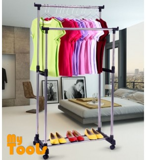 Mytools Double Adjustable Stainless Steel Garment Hanger Clothes Hanger Drying Shoes Rack W Wheels