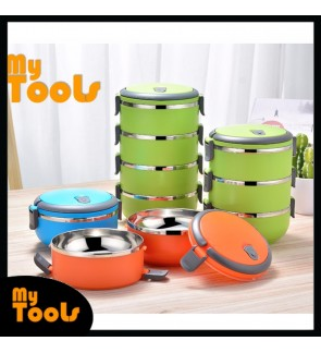 [Ready Stock] 1~4 Tiers Thermal Insulated Double Layer Stainless Steel Lunch Box