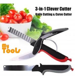 Clever Smart Cutter 3-in-1 Knife & Cutting Curve Cutter Board Scissors