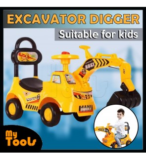 Children Kids Ride On Excavator Digger Pretend Play Construction Truck Toy (Yellow)