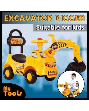 Children Kids Ride On Excavator Digger Pretend Play Construction Truck Toy (Yellow)