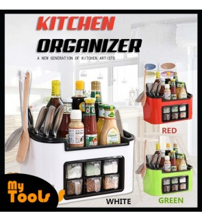 [READY STOCK] Kitchen Six Grid Condiments Seasoning Rack Organizer With Spoons