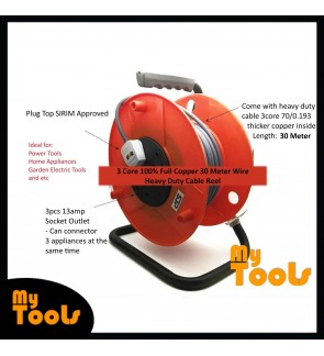 Buatan Malaysia SJP Cable Reel Set c/w 30Meter 3 Core 70 Full Copper Cable