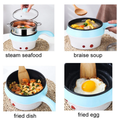 18CM Mini Multifunction Stainless Steel Electric Cooker Frying Pan W Steamer Pot With MALAYSIA THREE PIN PLUG HEAD