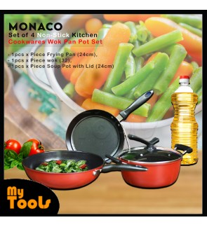[MALAYSIA STOCK] Monaco Set of 4 Non-Stick Kitchen Cookwares Wok Pan Pot Set