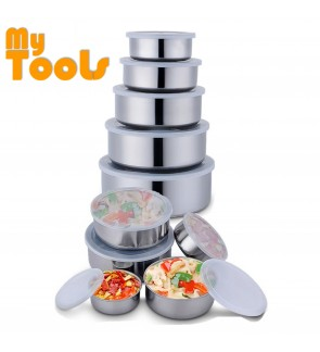 Mytools Kitchen 5 In 1 Stainless Steel Container Bowl With Snap on Lid