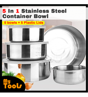 [READY STOCK] Kitchen 5 In 1 Stainless Steel Container Bowl With Snap on Lid