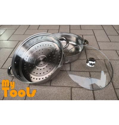 2 Tier S/Steel Steamer Steamer Pot/Steamboat Hotpot Cooker