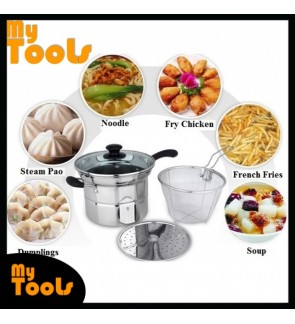 [READY STOCK] Mytools Korean 22cm Stainless Steel Noodle Cooking Pot Steamer