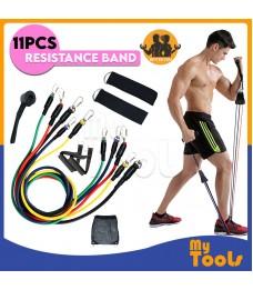 [READY STOCK]11pcs Exercise Resistance Bands Yoga Fitness Pilates Gym Kit