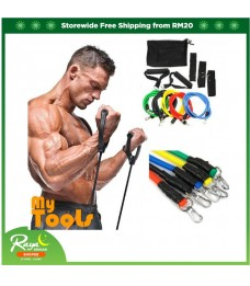 [READY STOCK]11pcs Exercise Resistance Bands Yoga Fitness Pilates Gym Kit