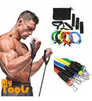 Mytools 11Pcs Exercise Latex Resistance Band Muscle Bands Rope Tube Yoga Fitness Abs Stretch Workout
