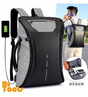 Mytools 2 In 1 Backpack Hand Carry Full Open USB Charging Laptop Travel Bag