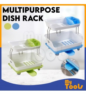 [READY STOCK] Multipurpose Dish Rack Double Layer Drain Dishes Kitchen Storage (RANDOM)