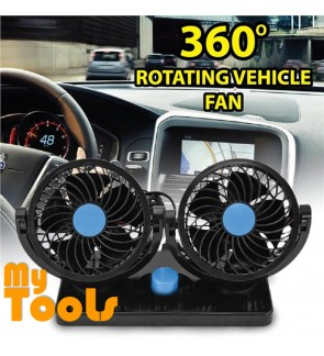 Mytools Car Cooling Air Double Fan Vehicle Silent 2 Speed Adjustable 2 Head 360 Degree Rotation