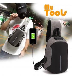 Mytools Anti Theft Sling Bag USB Charging Chest Crossbody W Password Lock Security