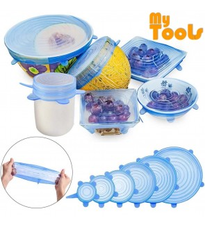 [6 Pcs] Mytools Silicone Stretch Lids Kitchen Containers Food Storage Covers For Pot Can Bowl Mug