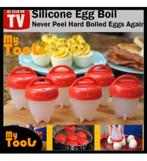 [READY STOCK] 6 pcs Silicone Egg Boil Boiler Egg Cooker Cooking Container