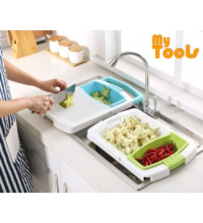 Mytools 3 in 1 Kitchen Sink Cutting Chopping Board Removable Drain Washing Basket