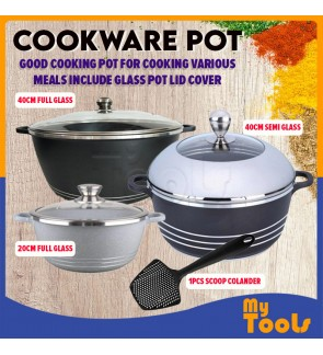 Mytools Cookware Large Pot 40 Cm (Periuk Rendang Ayam Daging) With Lid Die Casting Iron