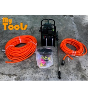 Mytools Portable Double Pump Rechargeable Battery Sprayer c/w 30m Sprayer, 10m Suction Hose, Accessories