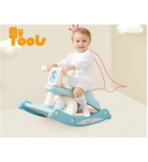Mytools 3 In 1 Multifunction Toddler Portable Rocking Horse And Baby Dining Table Chair Dual-use With Light And Music For Child Kids