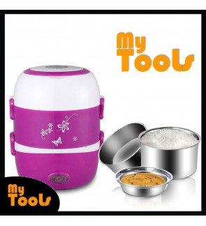 [READY STOCK] 3 Layer Portable Cooker Lunch Box Steamer Electric Stainless Steel