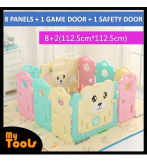 Baby Safety Play Yard With Safety Door And Game Wall Candy Color 8+2 (10 Panels)
