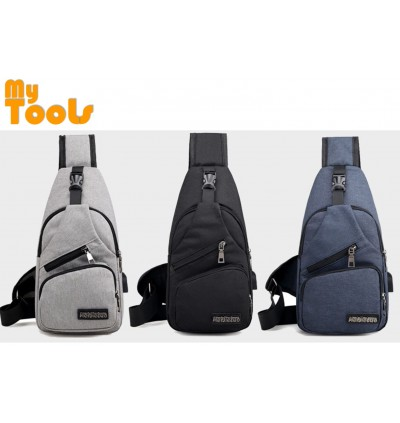 Mytools USB Charging Chest Bag Crossbody Sling Bag Anti Theft Casual Daypack