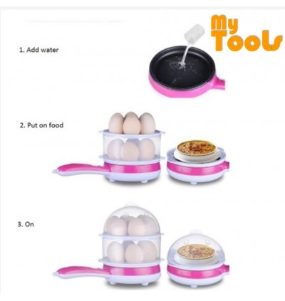 Mytools Single Layer Mini Electric Frying Pan Egg Cooker Fried Egg Boiler Steamer