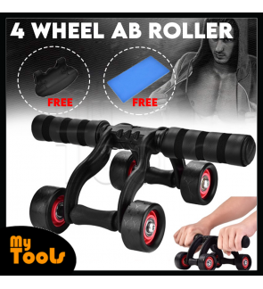 AB Roller ABs 4 Wheel Abdominal Exercise Gym Fitness [Free: Mat + Push Up Break]
