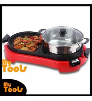 Mytools 2 In 1 BBQ Steamboat Pan Grill Combination Teppanyaki W Hot Pot Shabu