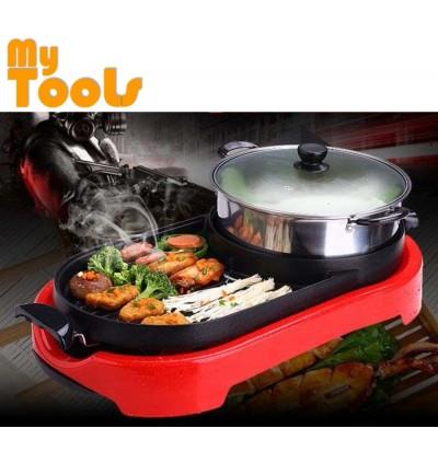 Mytools 2 In 1 BBQ Steamboat Pan Grill Combination Teppanyaki & Steamboat Hot Pot Shabu Roast Fry Pan