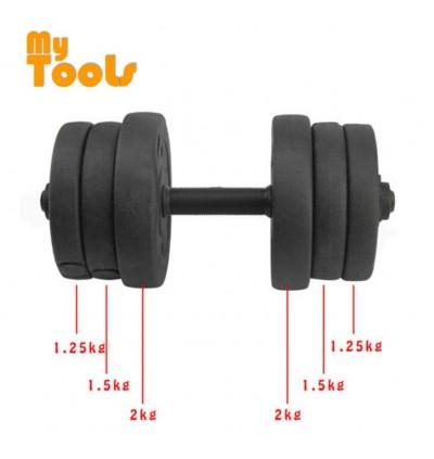 Mytools 20kg Dumbbell Bumper Rubber Coated 20kg (10kg x 2pcs) + 30cm Connector Barbell Set Converter Adjustable Weight