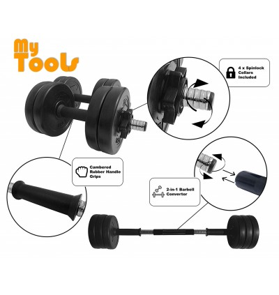 Mytools 15kg Dumbbell Bumper Rubber Coated 15kg (7.5kg x 2pcs) + 30cm Connector Barbell Set Converter Adjustable Weight