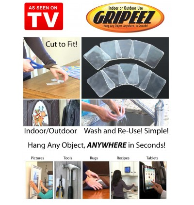 Gripeez 10pcs Removable Double Sided Super Grip Indoor & Outdoor