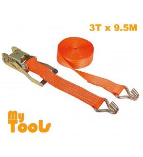 """2"""" X 10M Heavy Duty Ratchet Tie Down Belt With Metal Lock ( 3 Ton Breaking Force )"""