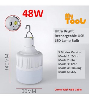 Mytools 5 Modes 48W Rechargeable USB LED Bulb Emergency Light Lamp Ultra Bright